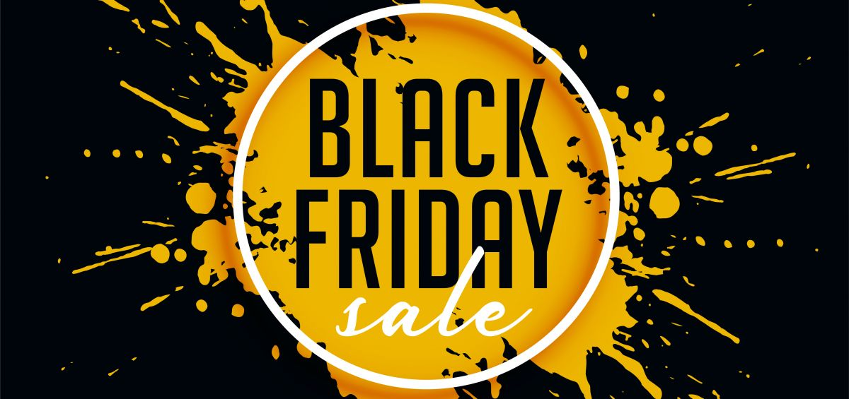abstract black friday sale with ink splash background